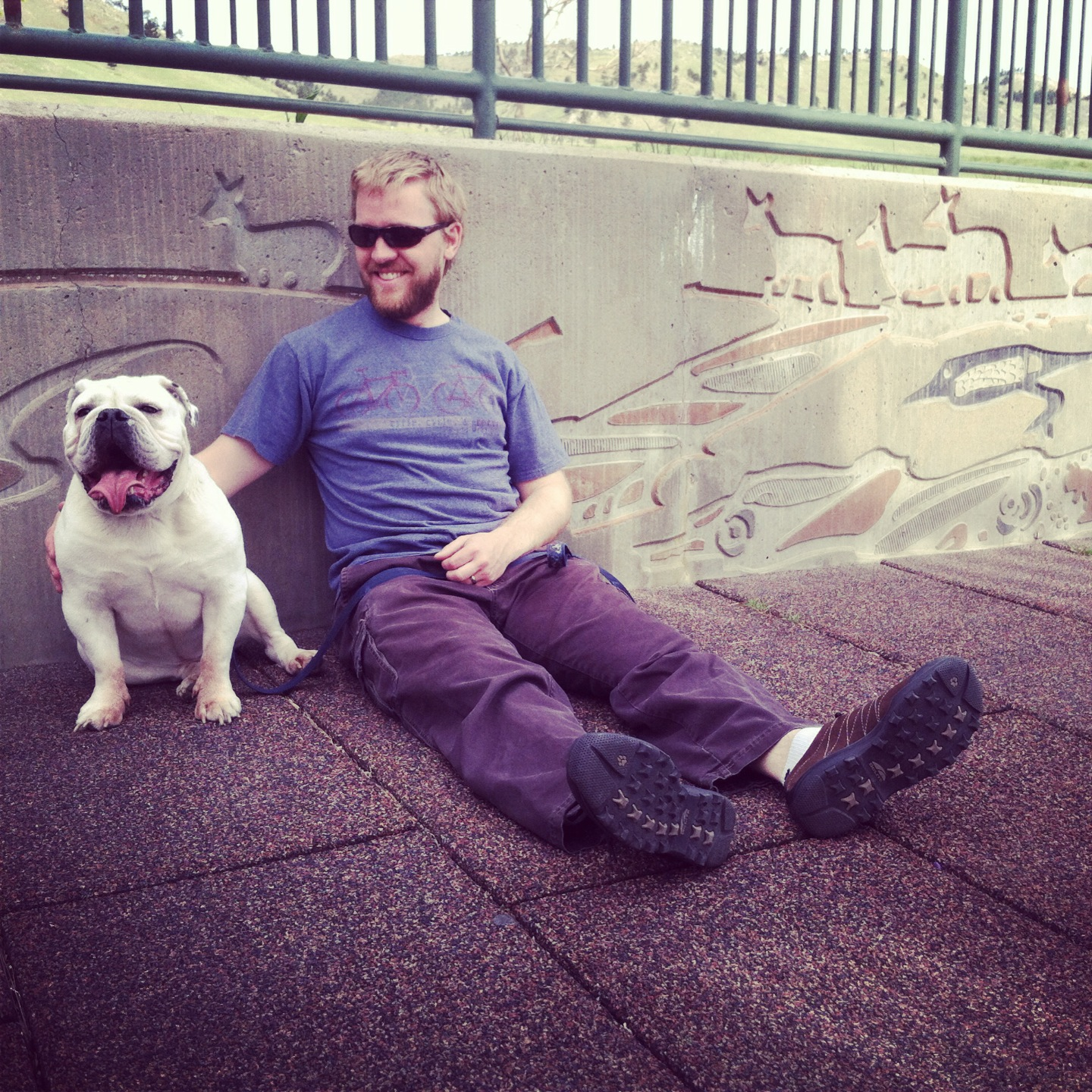Hot bulldogs always look like happy bulldogs. Engineer Dan is truly happy...but likely hot too.
